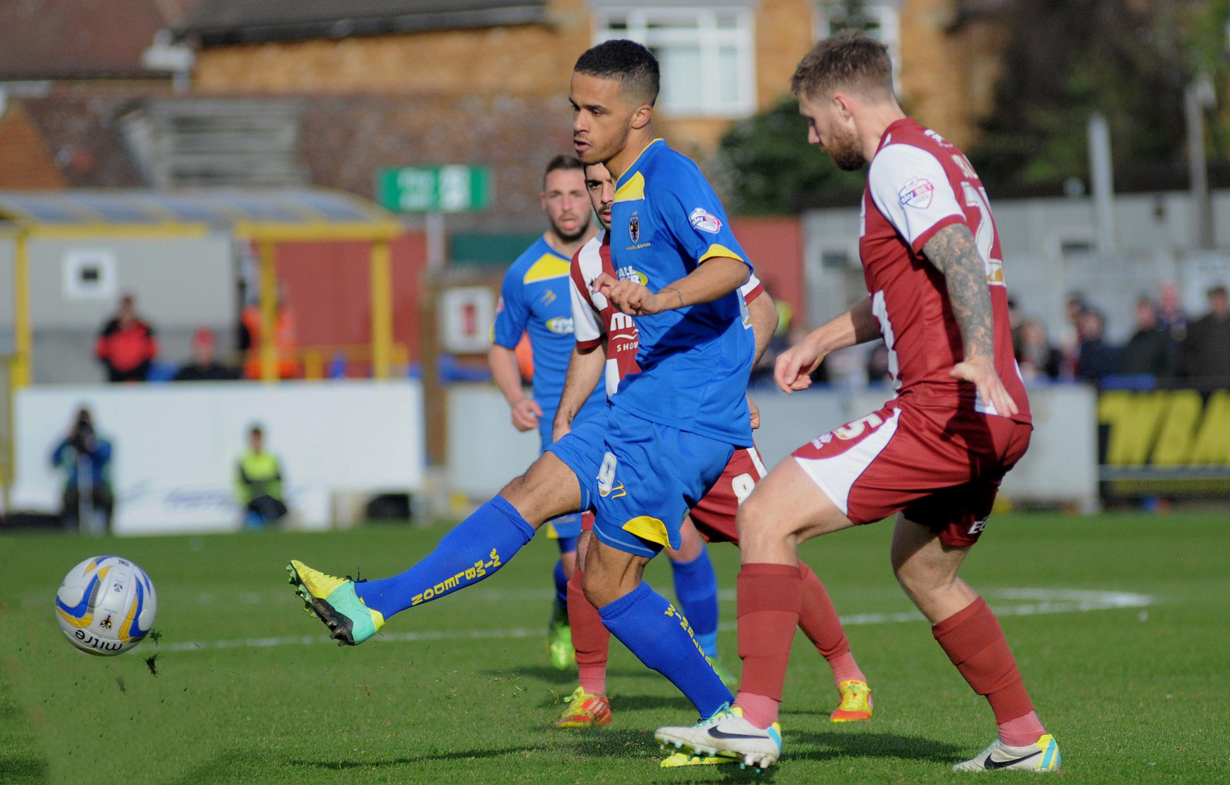 Jake Nicholson played for the Dons against Cheltenham last month. Picture: David Purday