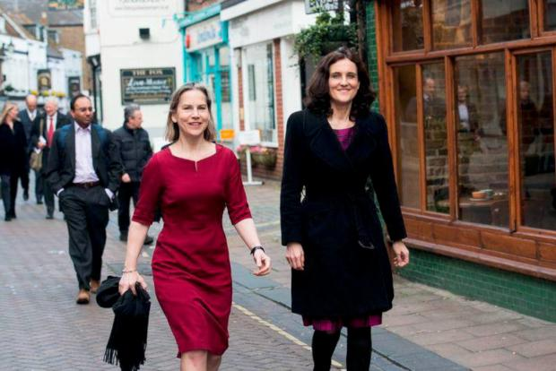 On the campaign trail: Theresa Villiers and Dr Tania Matthias