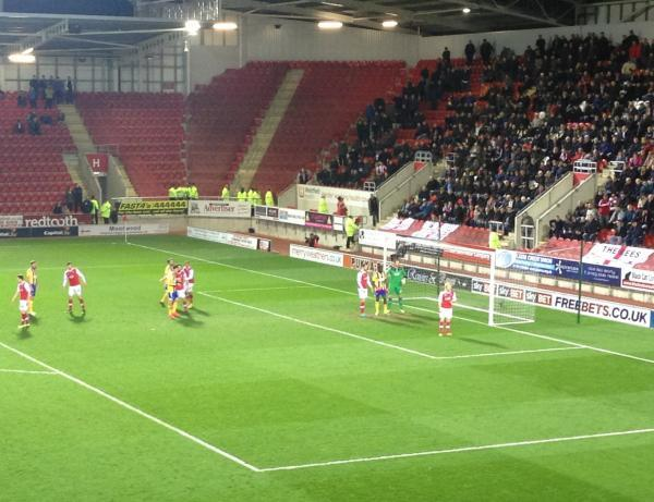 Thanks for coming: Brentford wait for a corner in front of 575 travelling fans at Rotherham United o