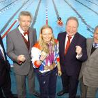Richmond and Twickenham Times: Top Paralympic swimmer Susie Rodgers at Charlton Lido's relaunch, pictured middle with L-R Managing director of GLL Mark Sezans, David Golton of London Marathon Charitable trust,  Cllr Peter Kotz and Cllr Jim Gillman.