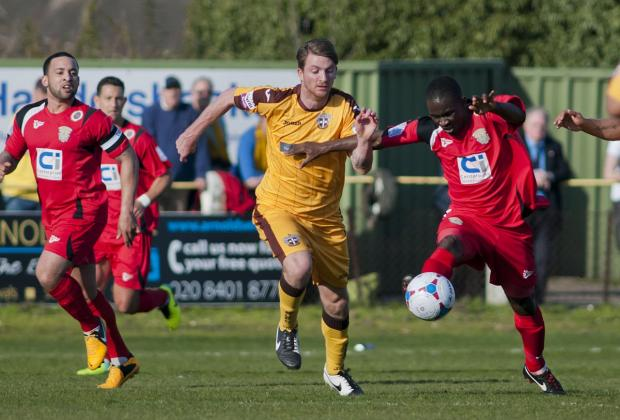 Off the mark: Michael Spillane scored his first goal in Sutton United colours in Tuesday night's 1-0 win over Boreham Wood	Deadlinepix SP81948