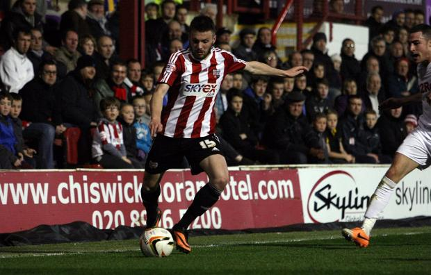 Maiden strike: Midfielder Stuart Dallas scored his first goal for Brentford since signing in 2012