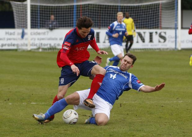 Mixed week: Hampton's Charlie Moone in action against Lowestoft Town before his early bath