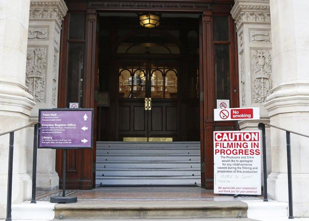 Richmond and Twickenham Times: The sign warns people to be quiet when entering the town hall