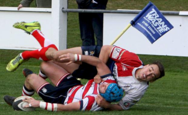Try: Scott Sneddon gets on the scoresheet at Hull Ionians                        Pictures: David Whittam