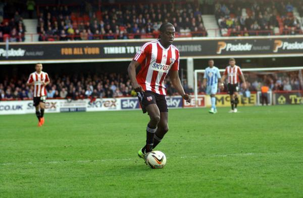 On target: Brentford striker Clayton Donaldson scored his 18th goal of the season at MK Dons