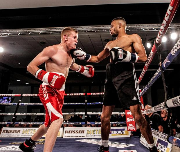 Remember this: Anthony Ayinde, right, in action against Ashley Dansie on his Queensbury Boxing League debut