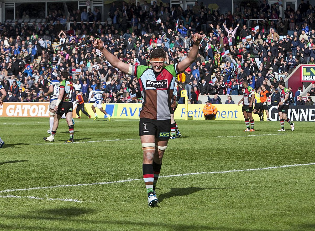On our way: Quins lock Charlie Matthews celebrates reaching the Premiership semi-finals after Saturday's 19-16 win over Bath