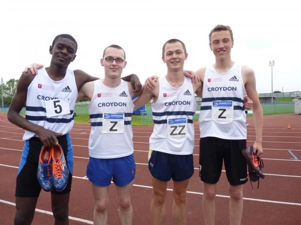 Winners: The Croydon Harriers men's 4x400m Chris Collins-Ahouzan, Jake English, Alex Penfold and Kieron Connor