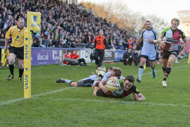 Richmond and Twickenham Times: Made at the Stoop: Former Harlequins winger Seb Stegmann scored the final try in Wednesday's Championship final second leg as London Welsh booked their return trip to the Premiership in style 	  Picture: G