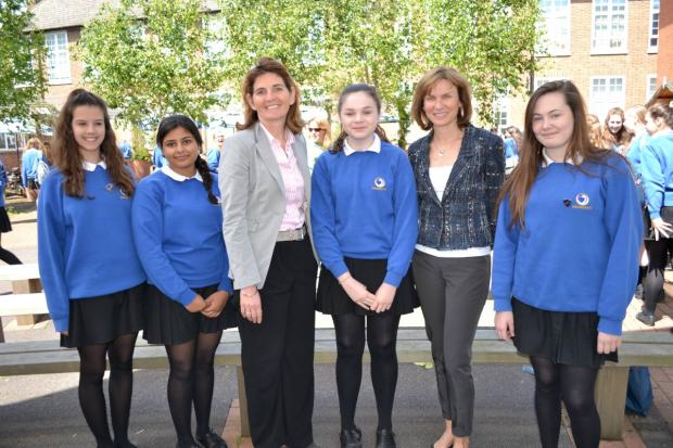 Follow your dreams: Fiona Bruce with year 10 students and headteacher Philippa Nunn