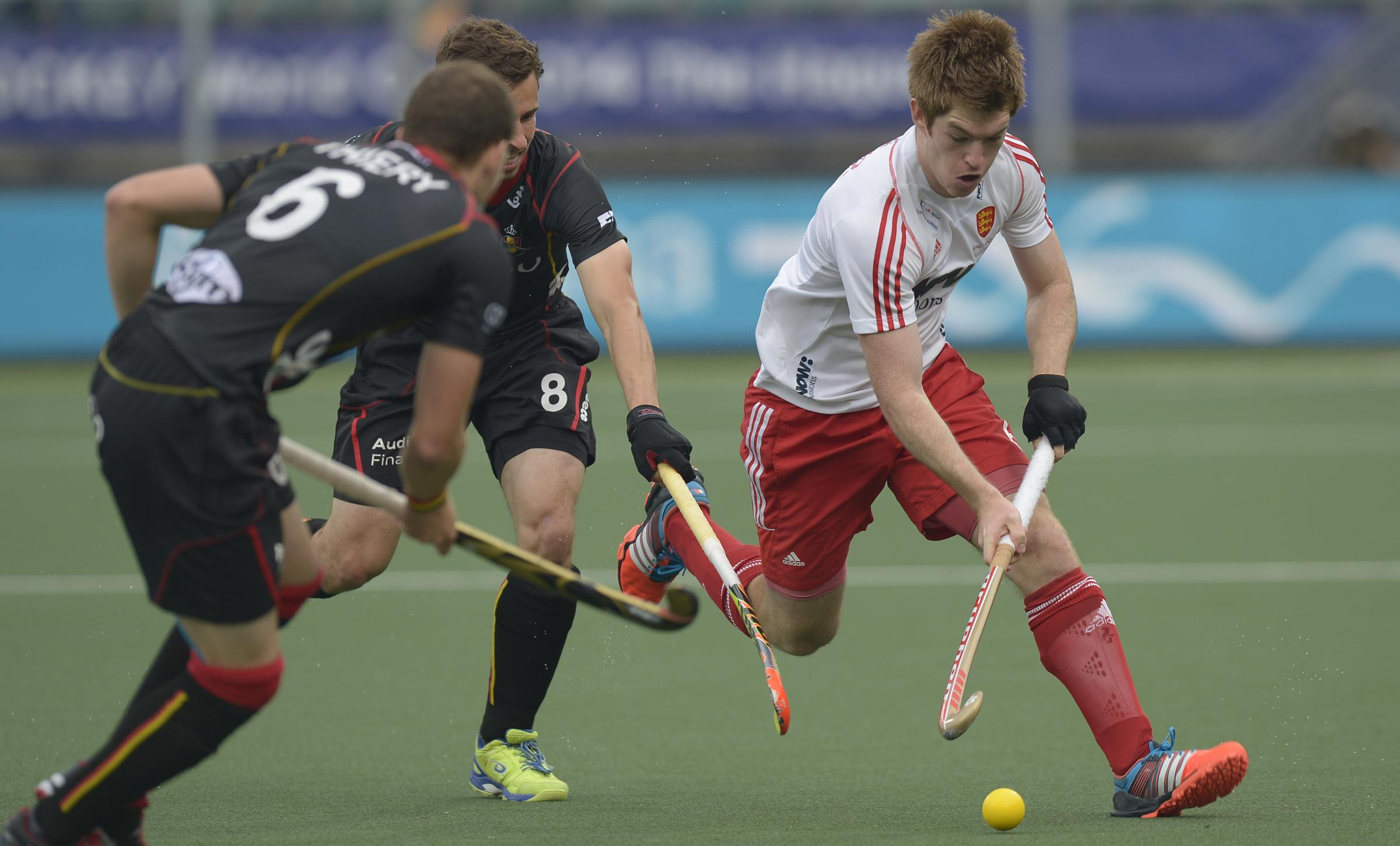 Onwards and upwards: Henry Weir in action during England's 3-2 win over Belgium at the Hockey World Cup in The Hague