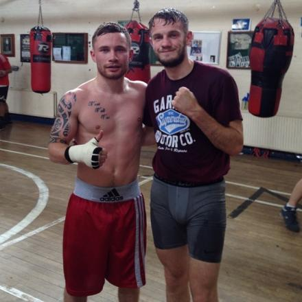 Sparring partners: Cassius Connor, right, with the IBF super bantamweight champion Carl 'The Jackal' Frampton