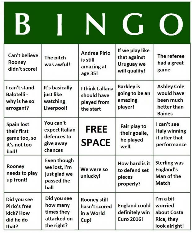 Richmond and Twickenham Times: World Cup 2014 Bingo - England v Italy