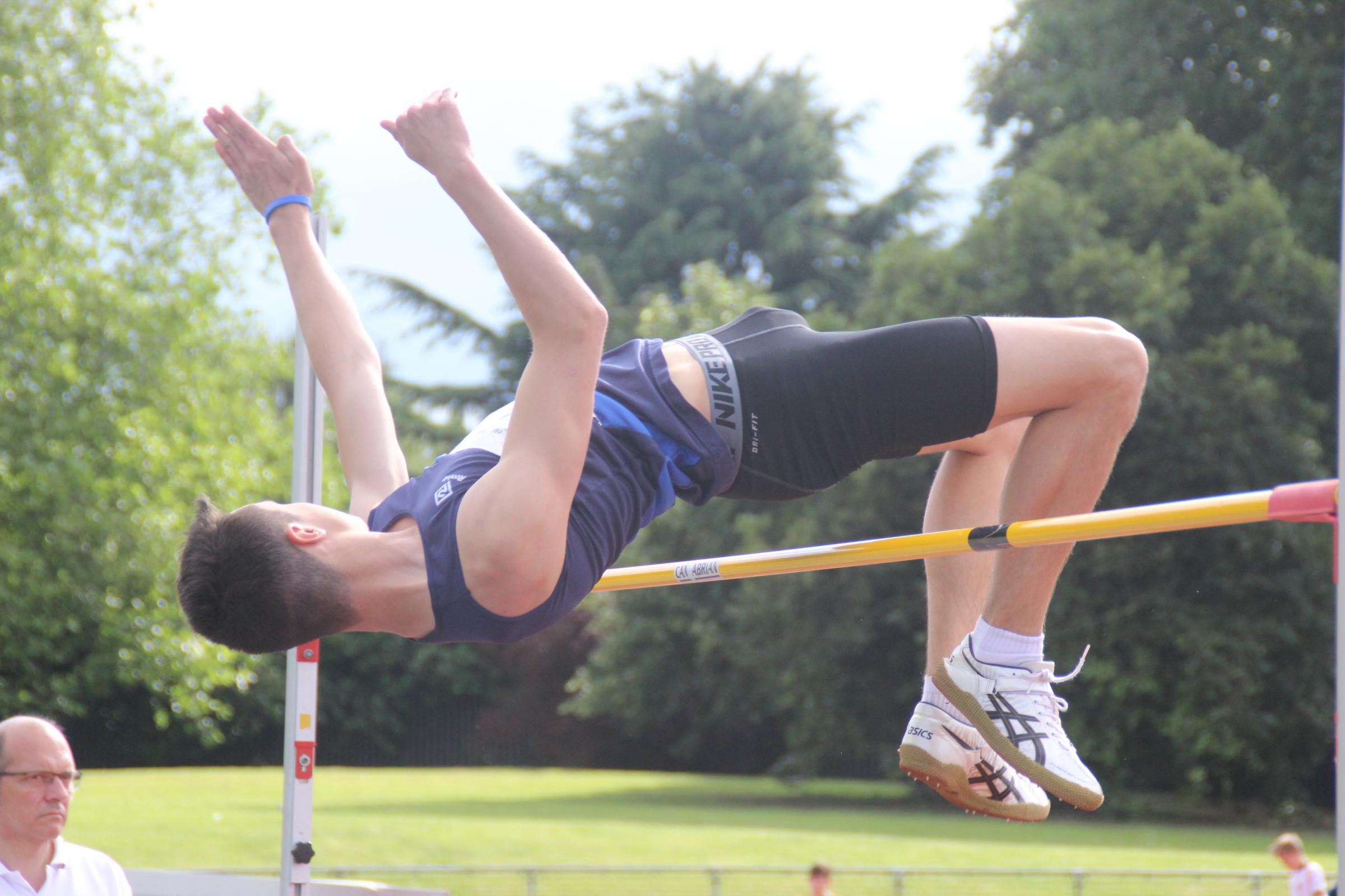 High times: Ocean Schwartz won the intermediate boys high jump at Satur