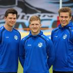 Richmond and Twickenham Times: Joining up: Former Elmbridge Eagles youngster Harvey Burnett, left, with Joe Keyes and Toby Everett