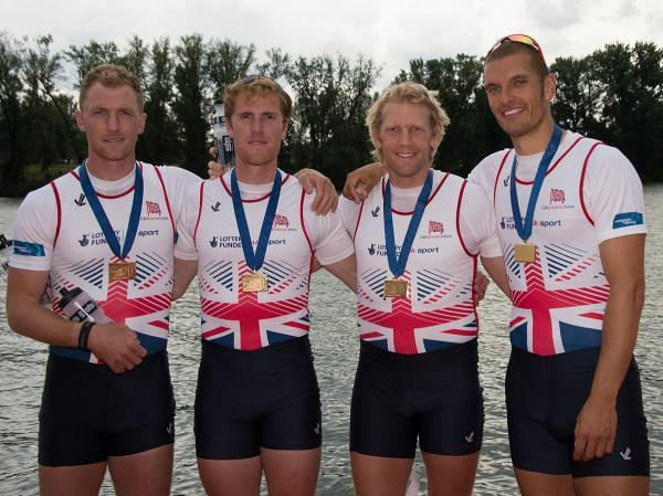 Golden summer: Surbiton's Moe Sbihi, right, with his Team GB men's four crew mates as they celebrate European gold earlier this year