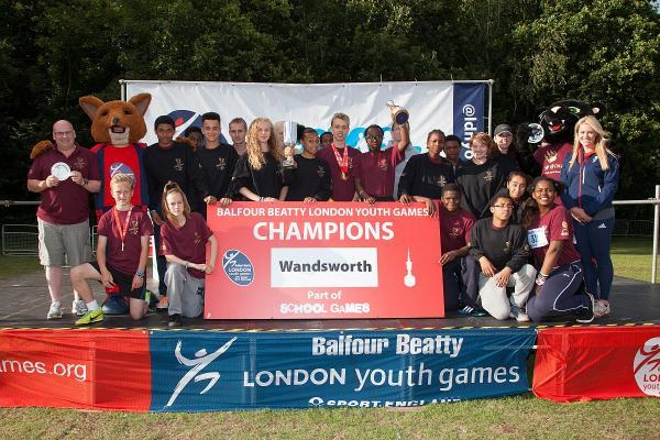 Celebrate: Chemmt Alcott, far right, with Wandsworth's London Youth Games winning squad