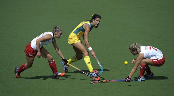 Back: Surbiton's Georgie Twigg, right, in action in Monday's 3-0 defeat to Australia    Picture: Ady Kerry