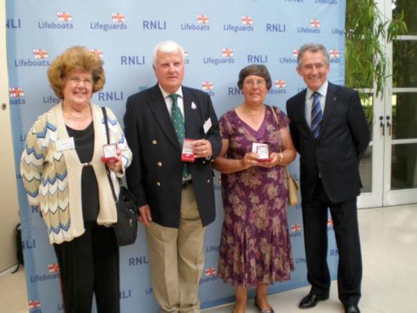 Thanks a million: Joan Catt, souvenir officer, Philip Bateman, treasurer, and Jill Goddard, chairman, with Charles Hunter-Pease OBE, chairman of RNLI