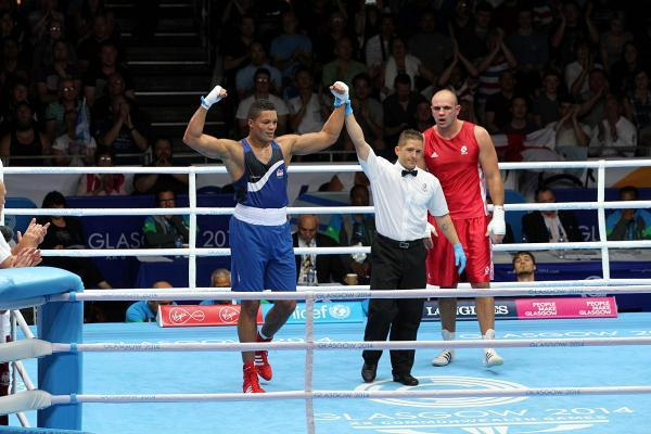 In familiar pose: Joe Joyce first entered the ring in 2006, now a pro future beckons after winning gold in the Commonwealth Games in Glasgow
