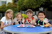 Messy fun: Monica Deakin, nine. Bella Reed, eight, Tom Croft, 10, and Ethan Lewis, seven