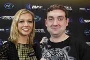 Rachel Riley from Countdown with Scrabble champion Craig Beevers (Richard Lewis/Mattel/PA)