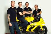 Good start: Simon Low, second from left, with his Crank Racing team