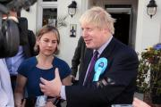 Working hard: Boris was the latest Tory grandee to visit the borough