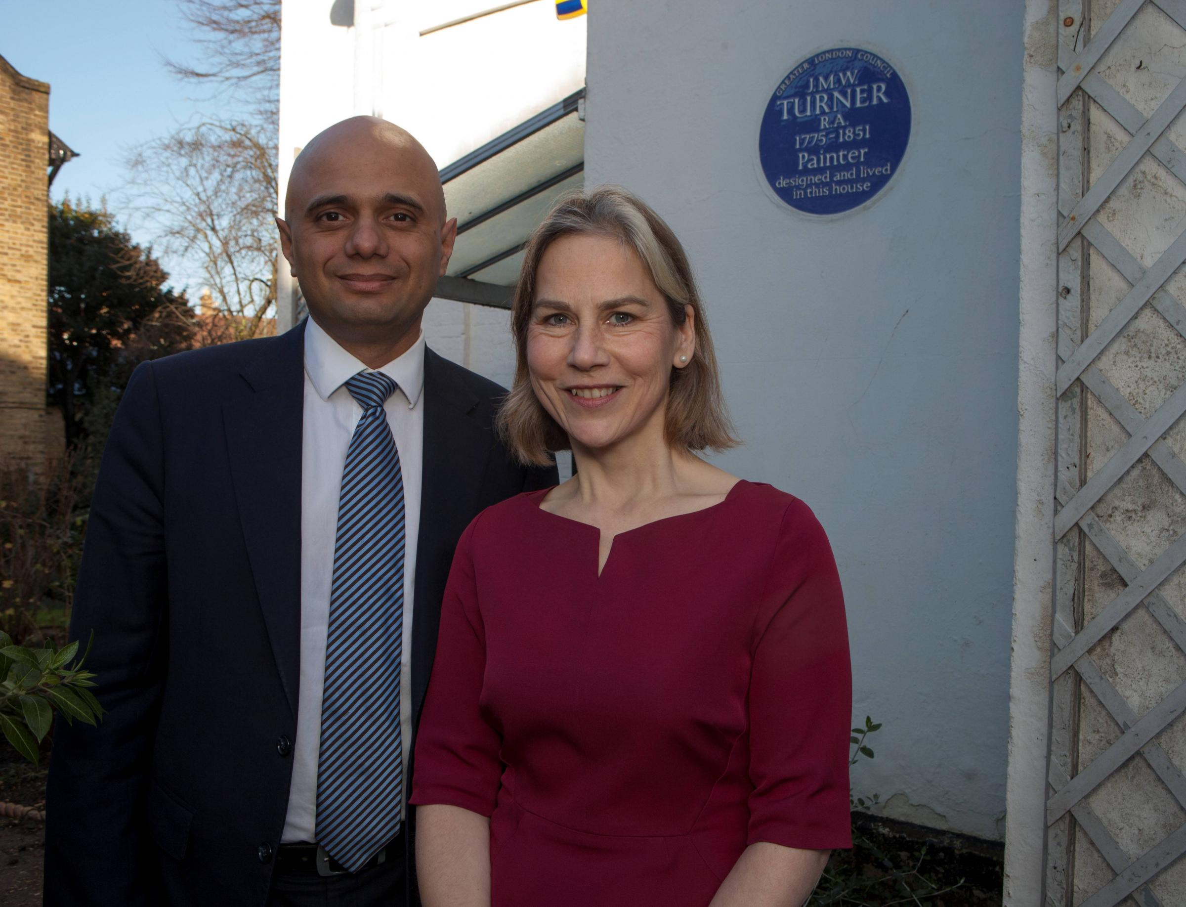 Tania Mathias with Business Secretary Sajid Javid at Turner's House before the general election