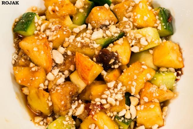 Rojak: An eclectic mix of fruit and salad made of tofu, cucumber and pineapple mixed with a spicy, tangy and sweet sauce made with tamarind and palm sugar