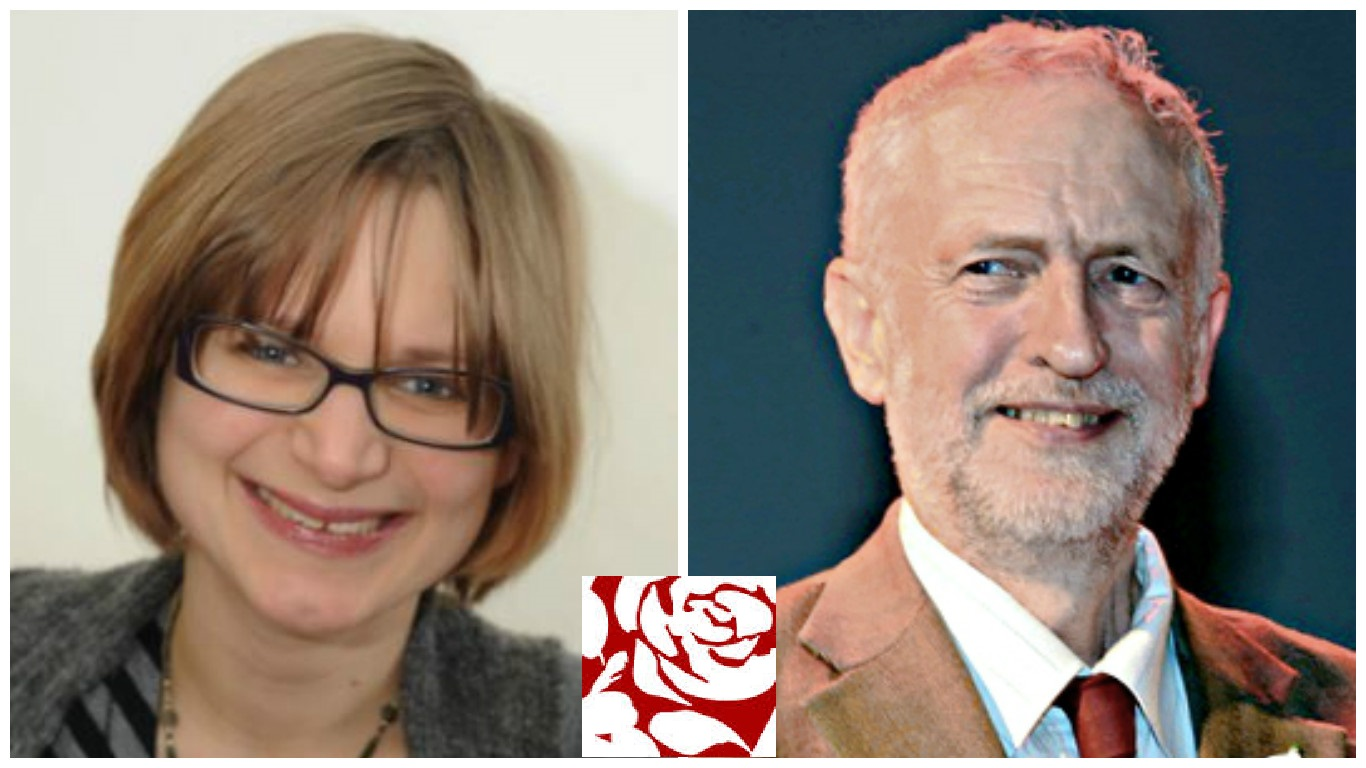 New Labour Councillor Jennifer Churchill and Labour leader Jeremy Corbyn
