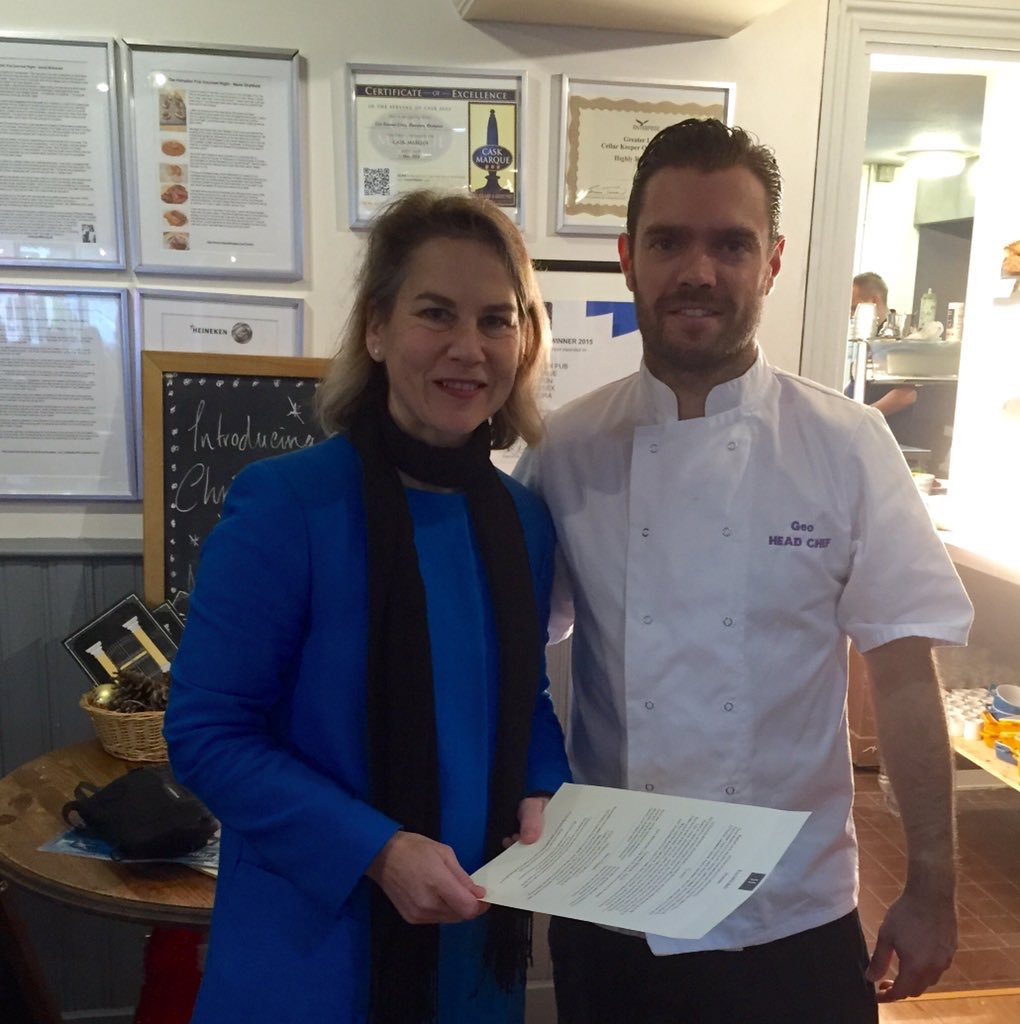 Twickenham MP Tania Mathias nominated Geo Bassani Lima, head chef and general manager at The Hampton, in the Parliamentary Pub Chef of the Year 2016 competition