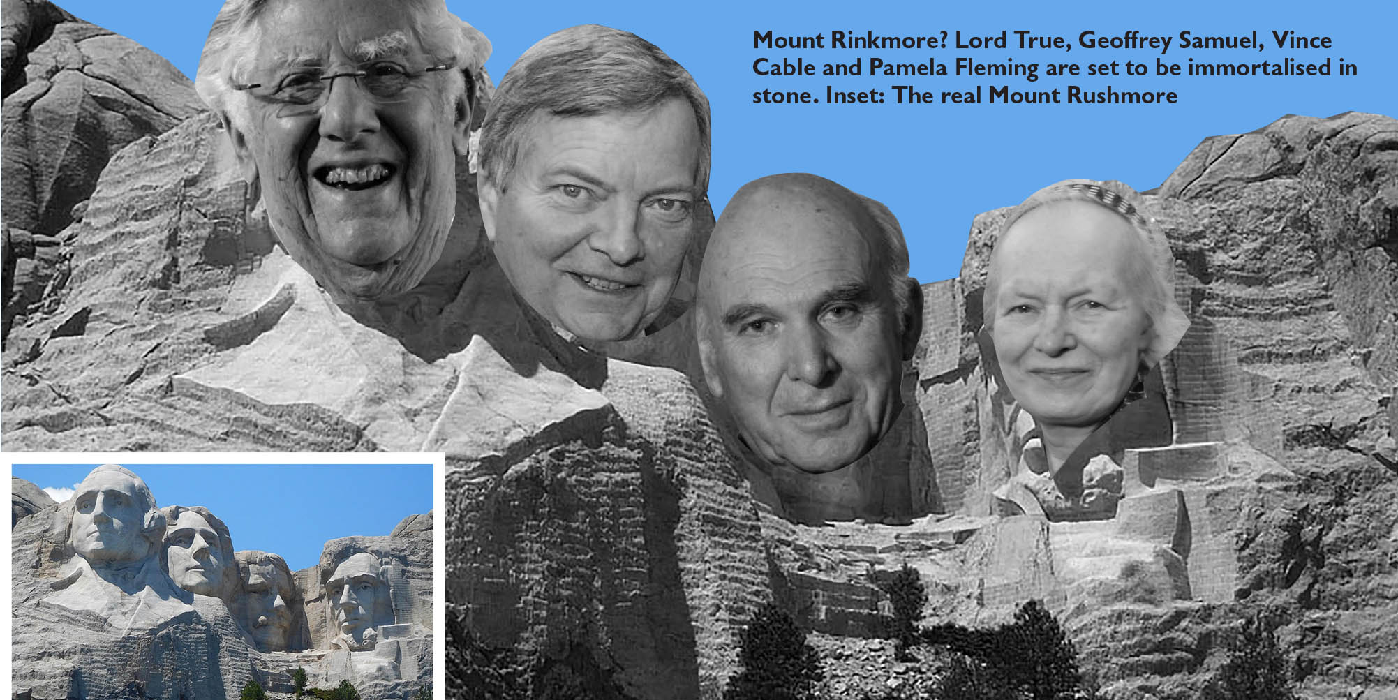 An artist's impression of how the monument, featuring Geoffrey Samuel, Lord True, Vince Cable and Pamela Fleming, will look