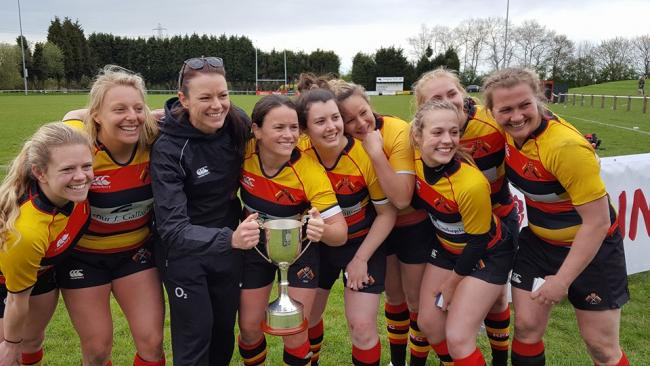 Happy days: Richmond fly half and vice captain Jackie Shiels, centre with trophy, and her team-mates celebrate claiming the Women's Senior Cup