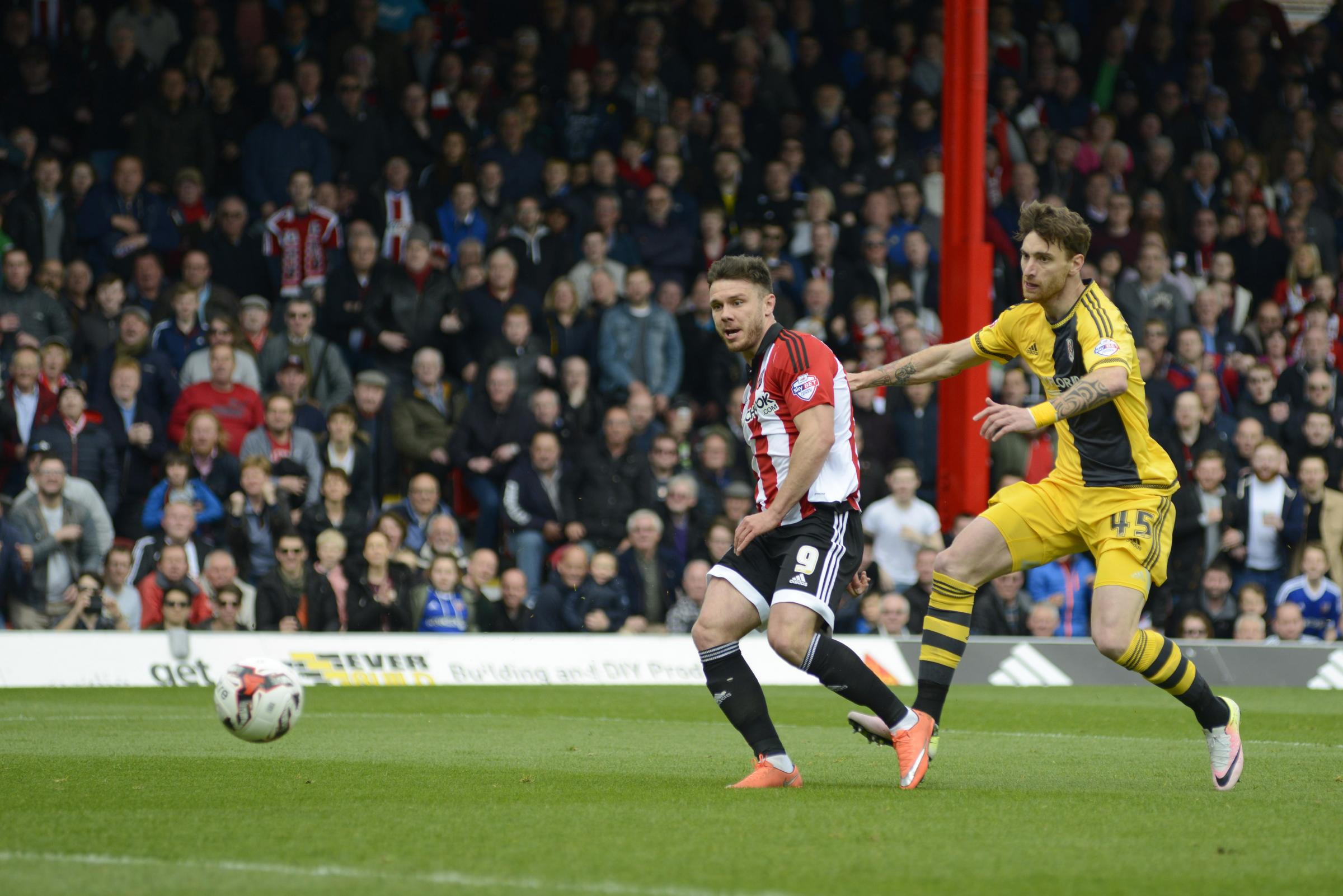 Dominant force: Bees striker Scott Hogan scores in a 3-0 win over Fulham at Griffin Park last season