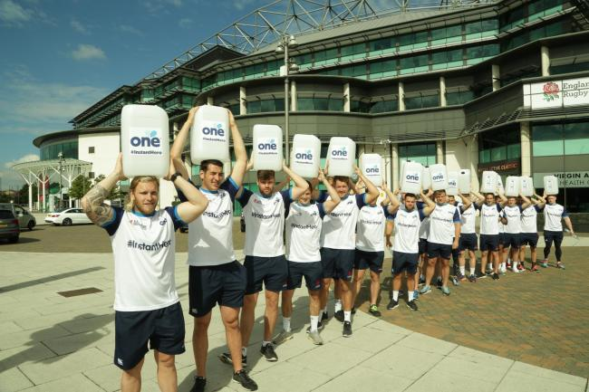 Eye opener: London Scottish at the start of their Walk for Water challenge at Twickenham stadium this week