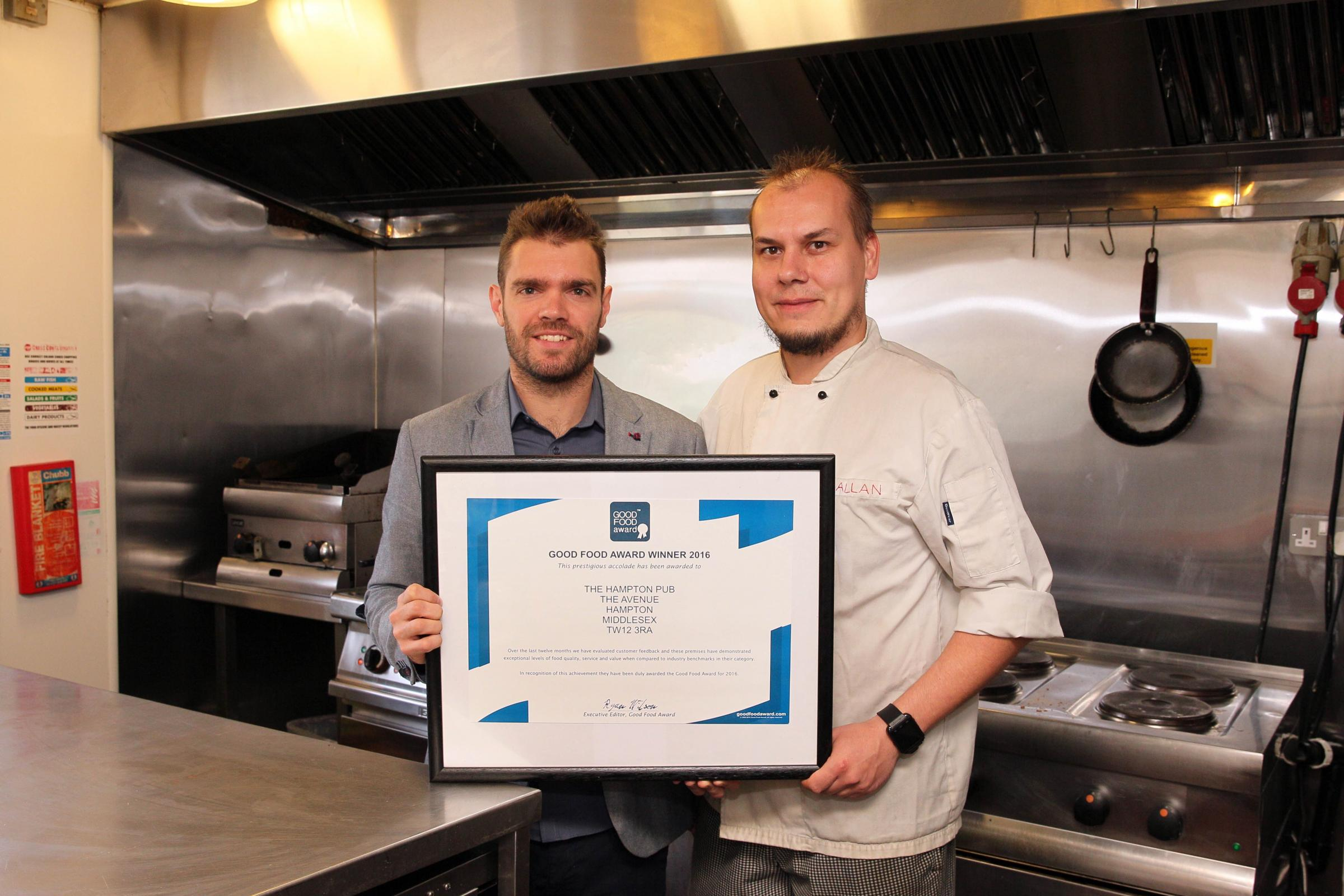 The Hampton Pub one of just 35 UK restaurants to win Good Food Award three years running