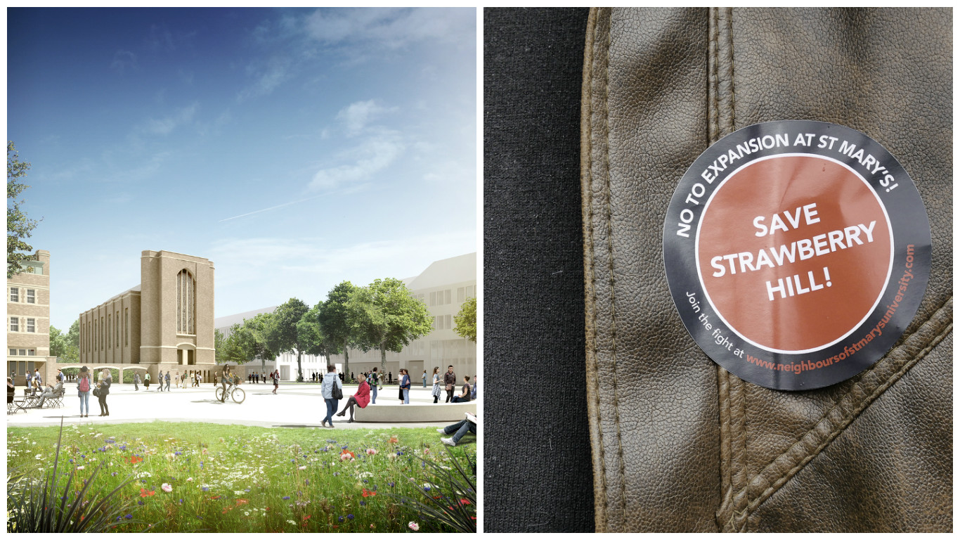 An artist's impression of the proposed development and a protest sticker