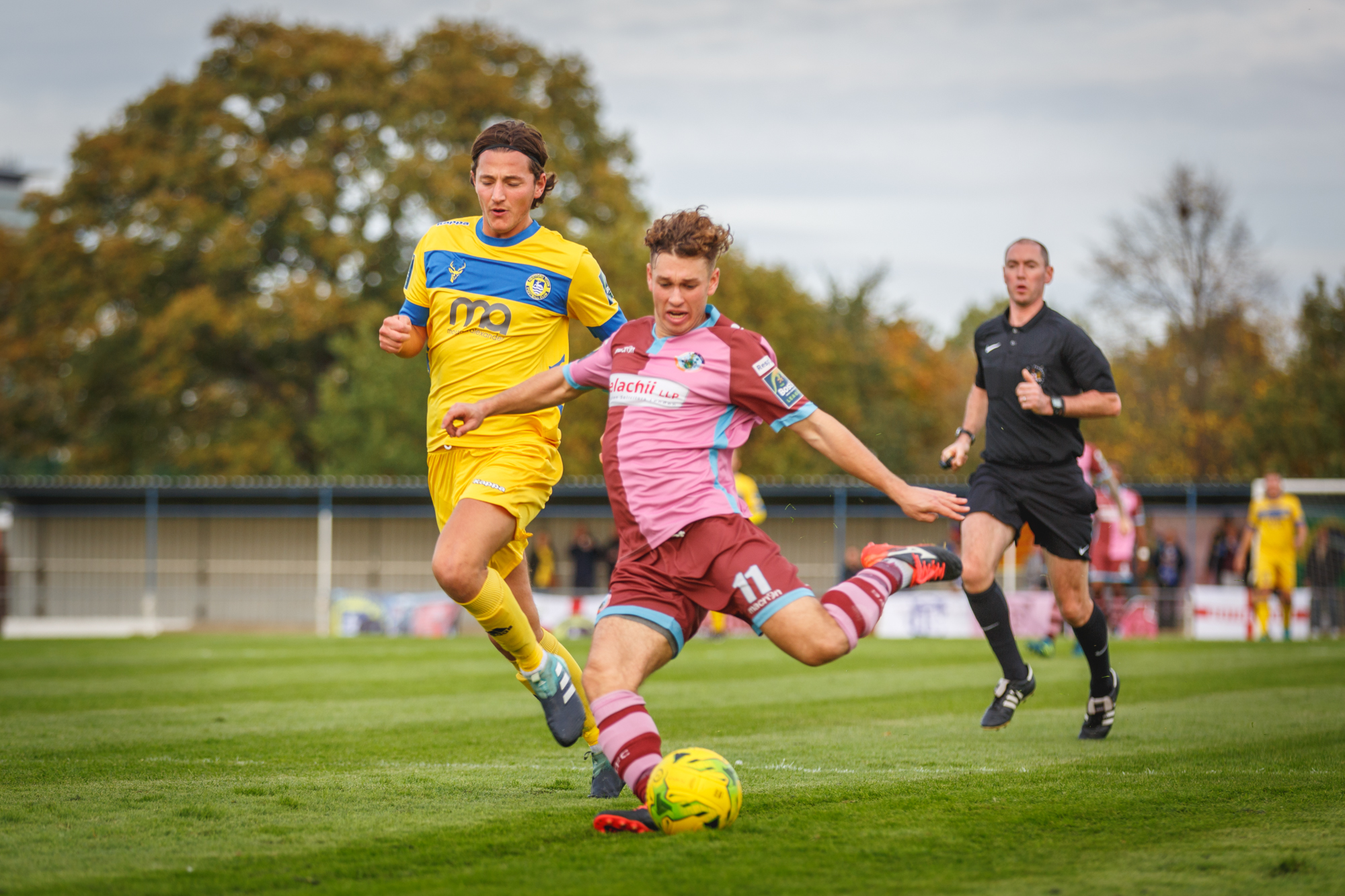 Max Oldham gives Corinthian-Casuals the lead against Hertford Town. Picture: Stuart Tree