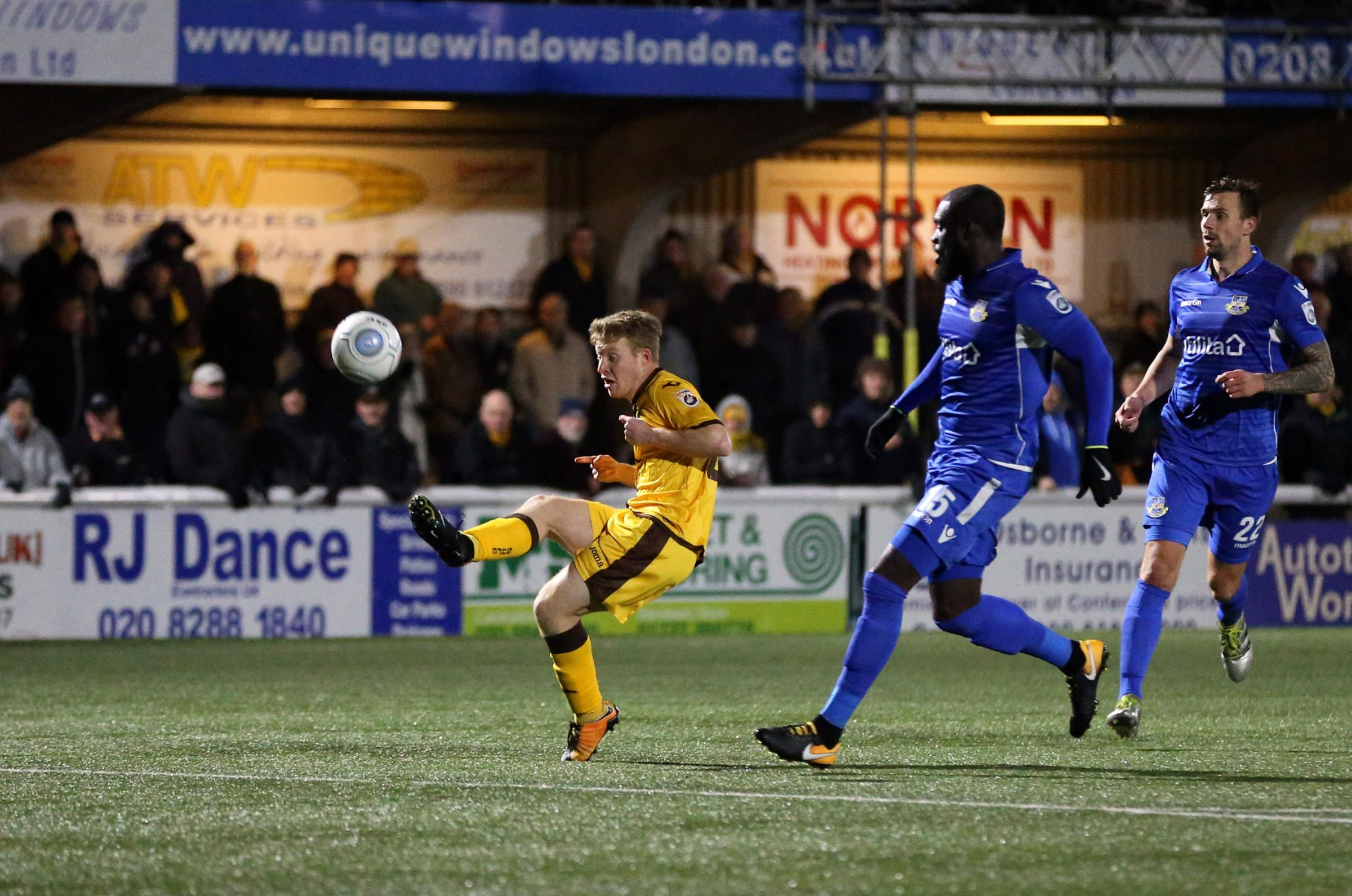 Tommy Wright scored a hat-trick for Sutton United against Molesey in the Surrey Senior Cup on Monday night. Picture: Paul Loughlin