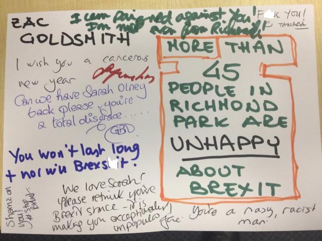 Zac Goldsmith receives Christmas card saying \'F**k you\', \'I wish you ...