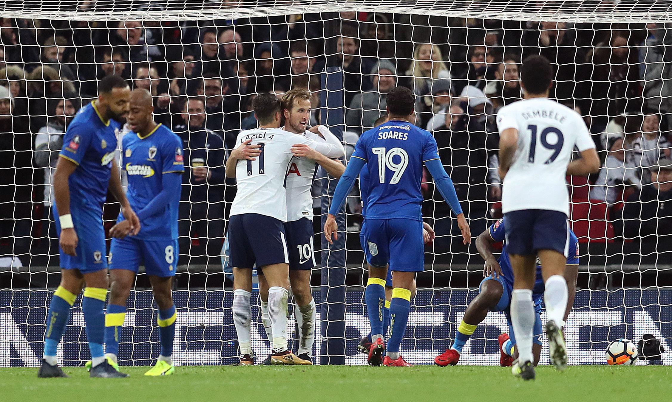 Harry Kane scores against AFC Wimbledon. Photo: Adam Davy/PA Wire