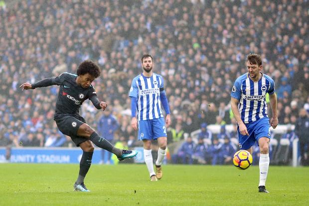 Bridge Banter: Willian's goal for Chelsea at Brighton was mesmeric. Photo: Gareth Fuller/PA Wire