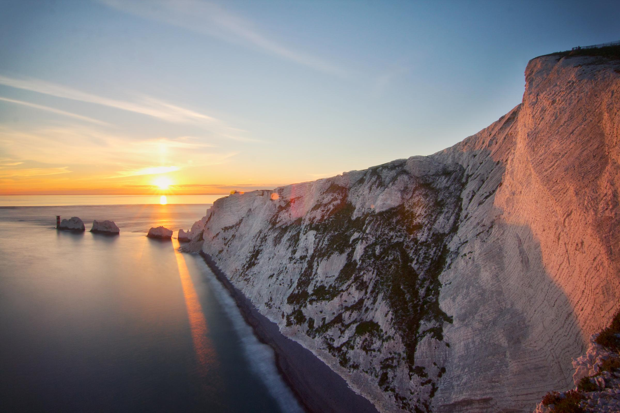 The Needles looks great at sunset, when the sun shines!