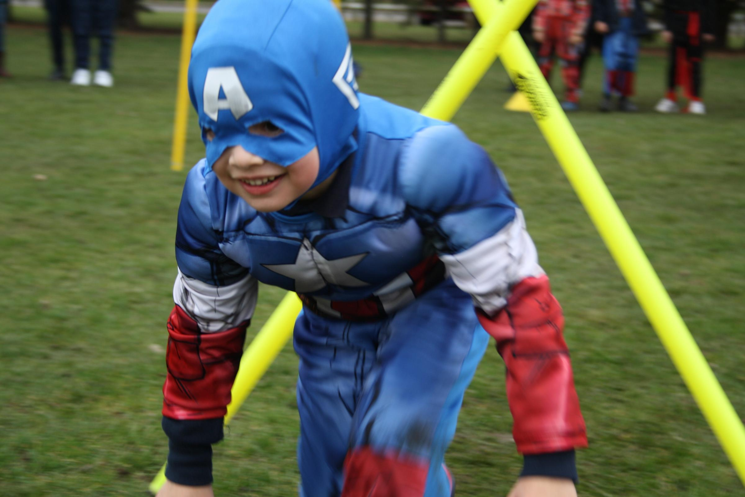 'Captain America', the first Avenger, competes in funathalon at Falcons