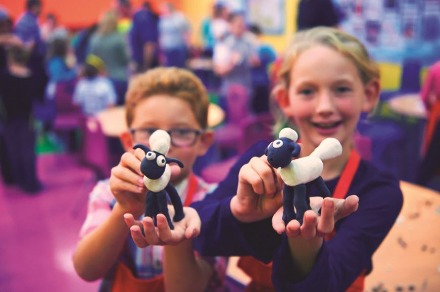 Children with their Shaun the Sheep models