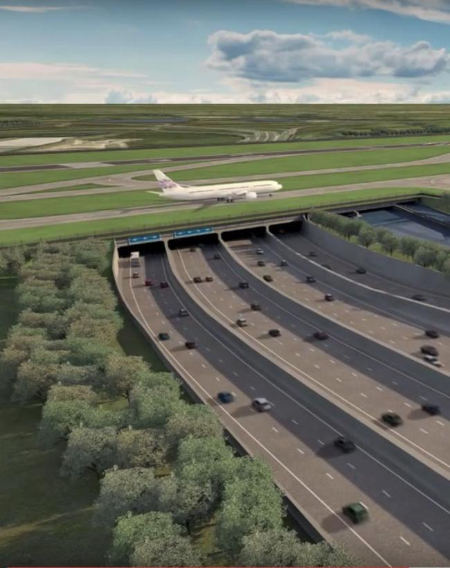CGI image issued by Heathrow Airport showing how the airport's third runway would pass over a widened M25. Picture: Heathrow Airport/PA Wire