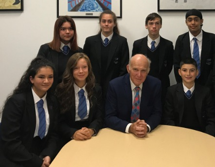 Vince Cable with pupils from Twickenham School, who are participating in The Scholars Programme.