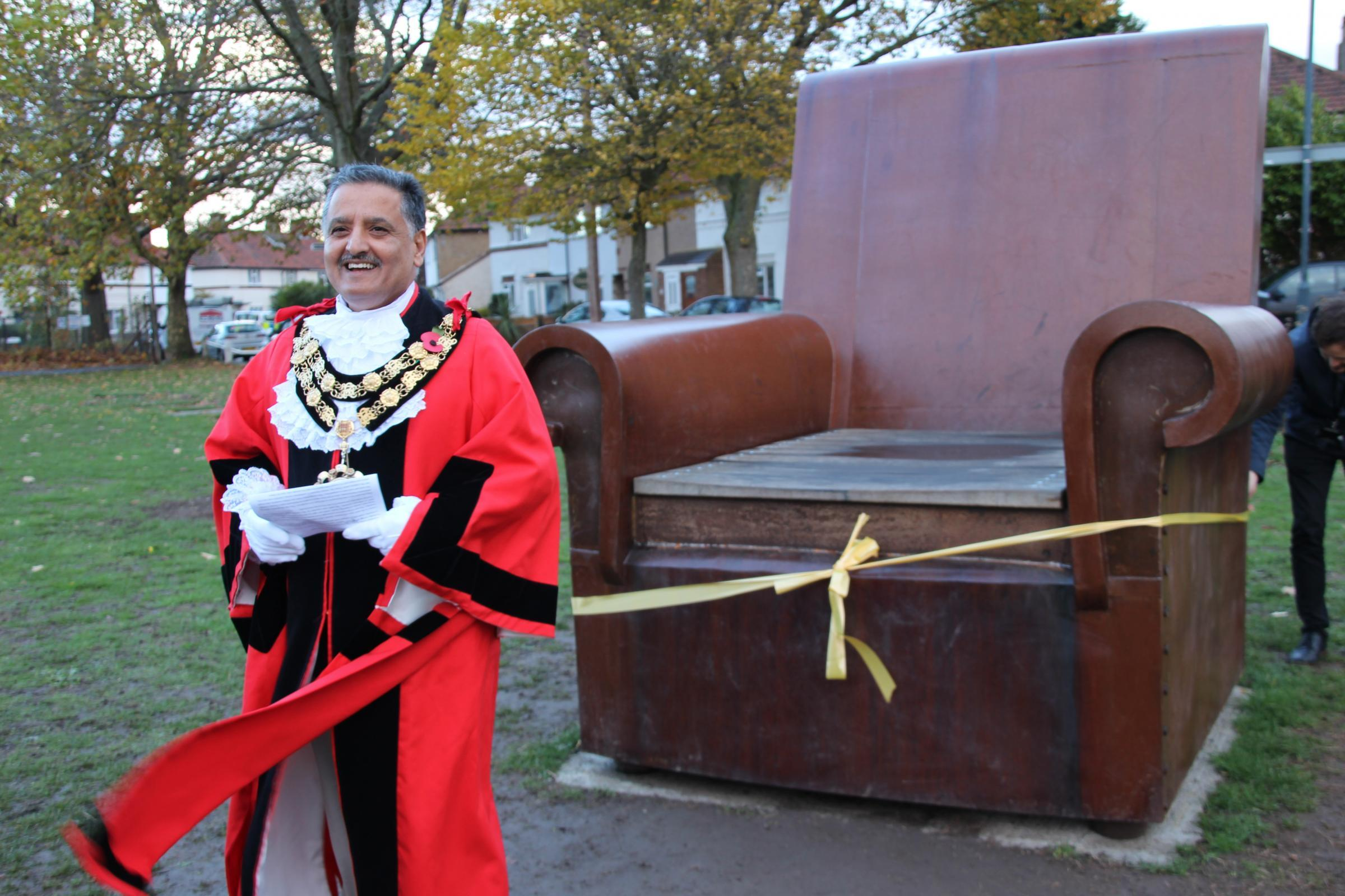 Richmond Mayor Cllr Ben Khosa was on hand to cut the ribbon for the opening of the sculpture.
